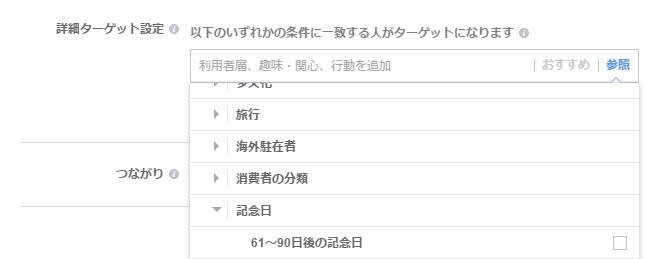 facebook広告ターゲティング行動>記念日